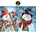 5D Diamond Painting Full Drill by Number Kits Christmas Decoration for Adults Kids, DIY Rhinestone Pasted Paint Set Arts Craft Xmas Snowman (12x16inch, 2 Pack) by Yomiie