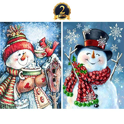 - 5D Diamond Painting Full Drill by Number Kits Christmas Decoration for Adults Kids, DIY Rhinestone Pasted Paint Set Arts Craft Xmas Snowman (12x16inch, 2 Pack) by Yomiie