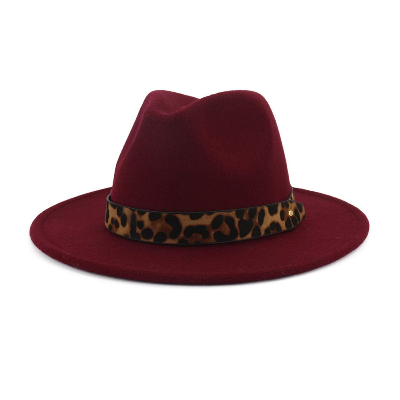 e74a449a720fb Fedoras Hats for Women Wide Brim Felt Hat Tweed Army Green Jazz Cap Female  Leopard Winter Elegant Pork Pie Hat at Amazon Women s Clothing store