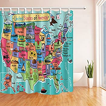 KOTOM Kids Map Of The United States Bath Curtain, Cartoon Fun Facts  Geography USA Map, Polyester Fabric Waterproof Shower Curtain For Bathroom,  69X70in, ...