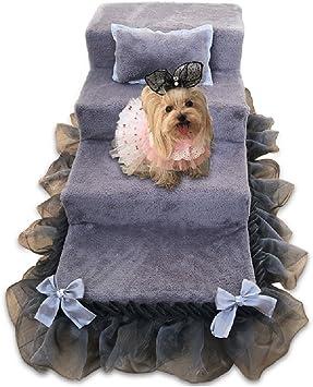 Escaleras de perro para perros medianos para cama alta, 4 escalones de esponja de gamuza Taburete de peluche para sofá cama, gris: Amazon.es: Bricolaje y herramientas