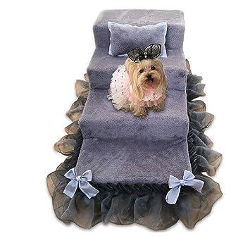 QZ Escaleras Grises del Animal Doméstico para Los Perros Medios para La Cama Alta 4 Pasos