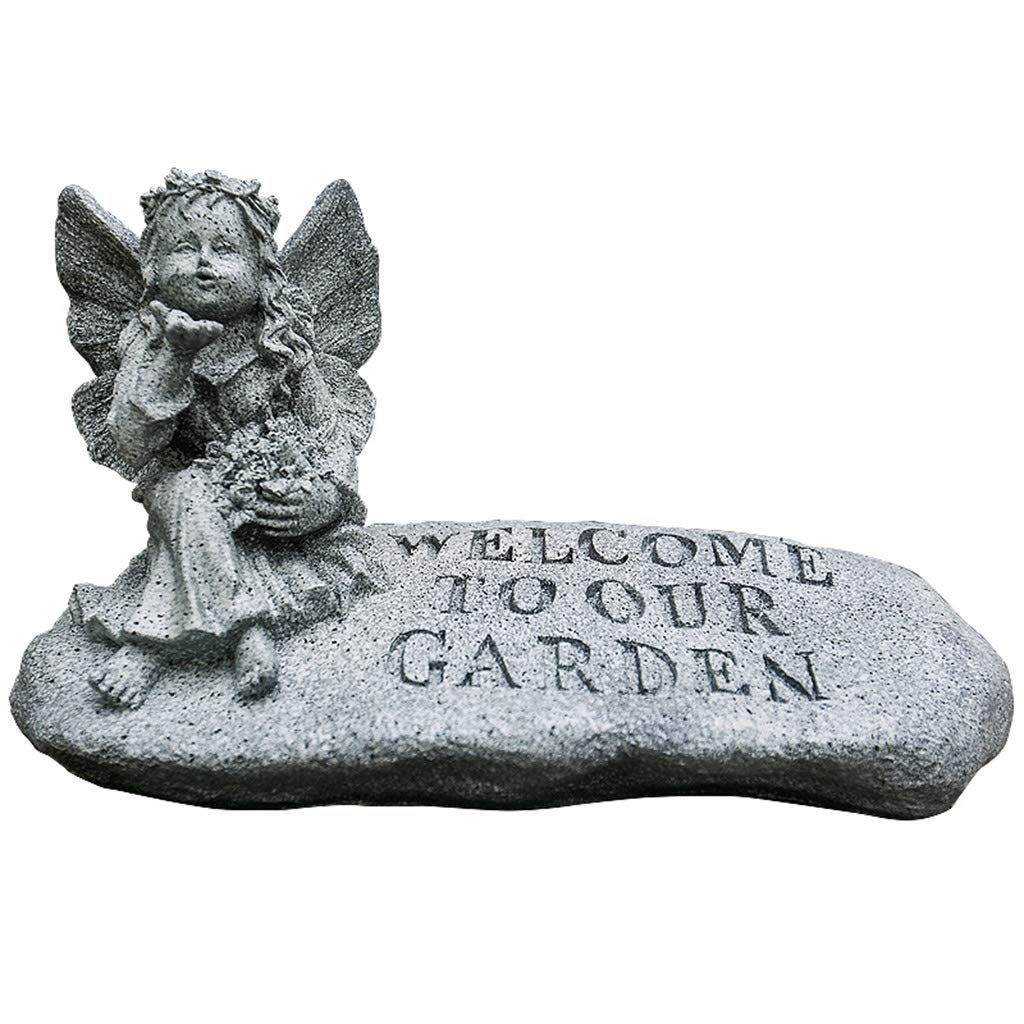 Accessories Garden Decoration Resin Angel Welcome Card Indoor Outdoor Landscaping Sculpture Bionic Stone Decoration (Color : Gray, Size : 2439.520cm)