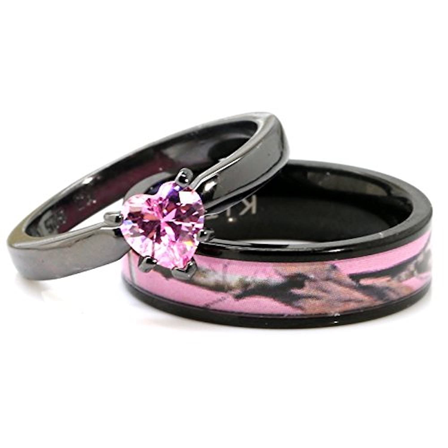 amazoncom black plated pink camo wedding ring set pink heart engagement rings hypoallergenic titanium and stainless steel jewelry - Black And Pink Wedding Ring Sets