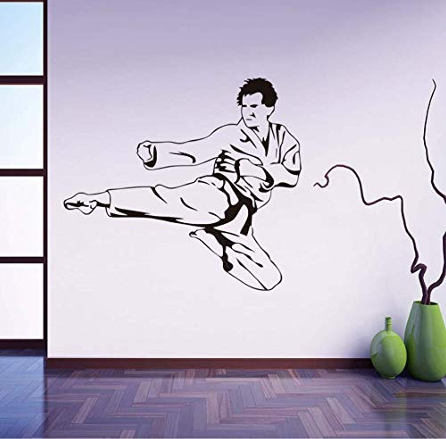 Flying Karate Kick Removable Children Bedroom Decorative Sport Home for Man Room Wall Decals Decor Vinyl Sticker Q16407 by Profit Decal