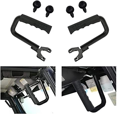 AUTOSAVER88 Front Grab Handle Compatible for 1997-2006 Jeep Wrangler TJ 2 Doors /& Unlimited Solid Roll Bars Steel Grip Black