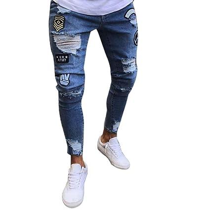 Un pantalón para hombre, yanhoo® Hombres Slim Biker Zipper Denim Jeans Pantalones de moda