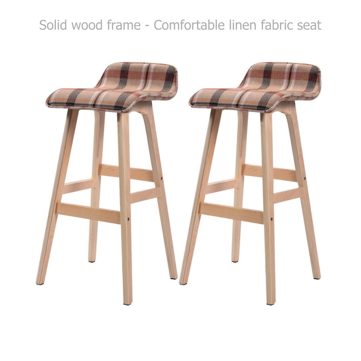 Modern Classic Bentwood Bar Stools Solid Wood Frame Unique Linen Fabrics Seat Counter Height Pub Kitchen Dining Chair - Set of 2 Striped #1530