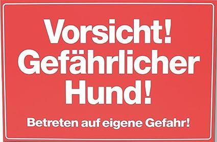 Cartel Aviso Gefährlicher Hund, 30x20 cm, Rojo: Amazon.es ...