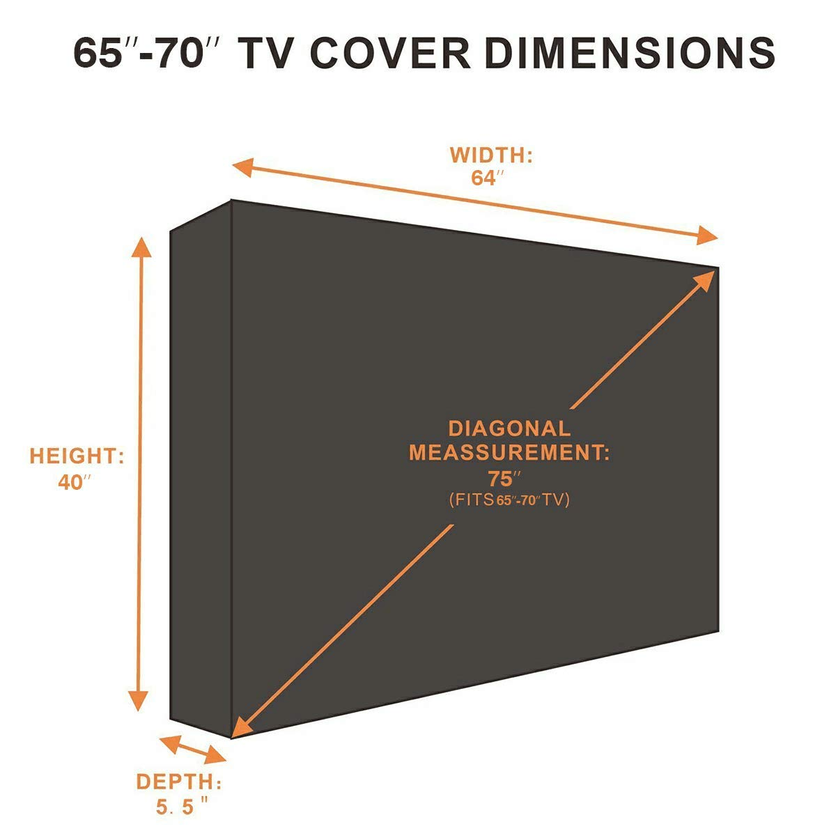 Outdoor TV Cover, Weatherproof Universal Protector for 65'' - 70'' LCD, LED, Plasma Television Screens. Dust-Proof with Bottom Seal and Soft Liner - Compatible with Standard Mounts and Stands