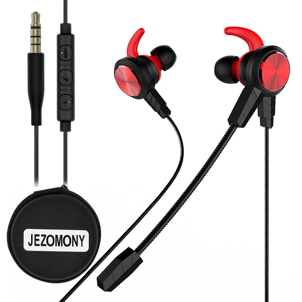 Wired Gaming Earphone with Detachable HD mic for PS4, Laptop Computer, Cellphone,JEZOMONY E-sport Earburds with Portable Earphone Bags, in-ear Headphone, Inline Controls for Hands-free Calling (Red)