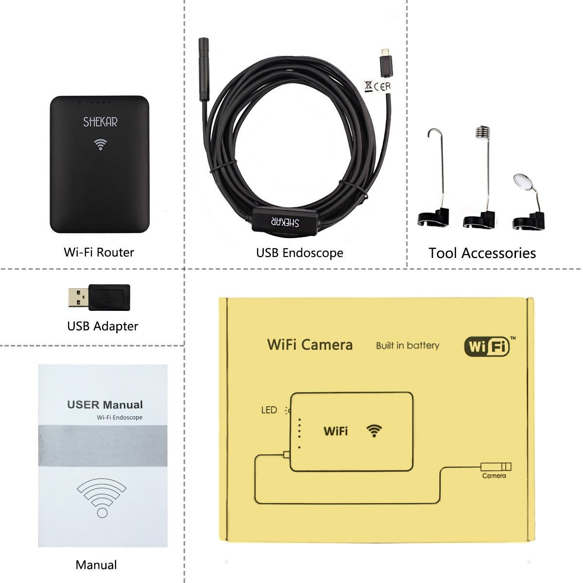 SHEKAR 5M Wireless Inspection Camera WiFi Borescope 2.0 Megapixels HD Snake Camera Tube for Android Smartphone and iOS iPhone iPad Tablet-16.4ft 885852 WiFi Endoscope Camera Samsung