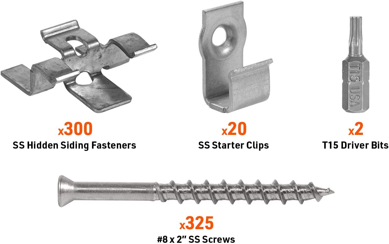 Starter Clips 8x2 Screws and T15 Drive Bit 1050 pack DeckWise Hidden Siding Fasteners for Hardwoods Includes all Stainless Steel; Fasteners