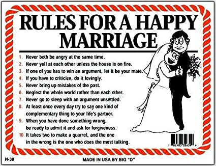 Image of: Jokes Image Unavailable Spreadshirt Amazoncom Rules For Happy Marriage Funny Humorous Plastic Sign 12