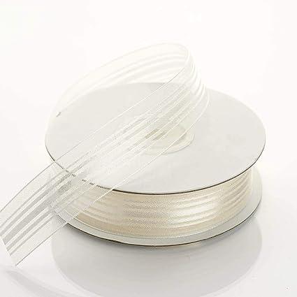 "5 Yds Antique White Ivory Satin Sheer Striped Wedding Ribbon 7//8/""W"