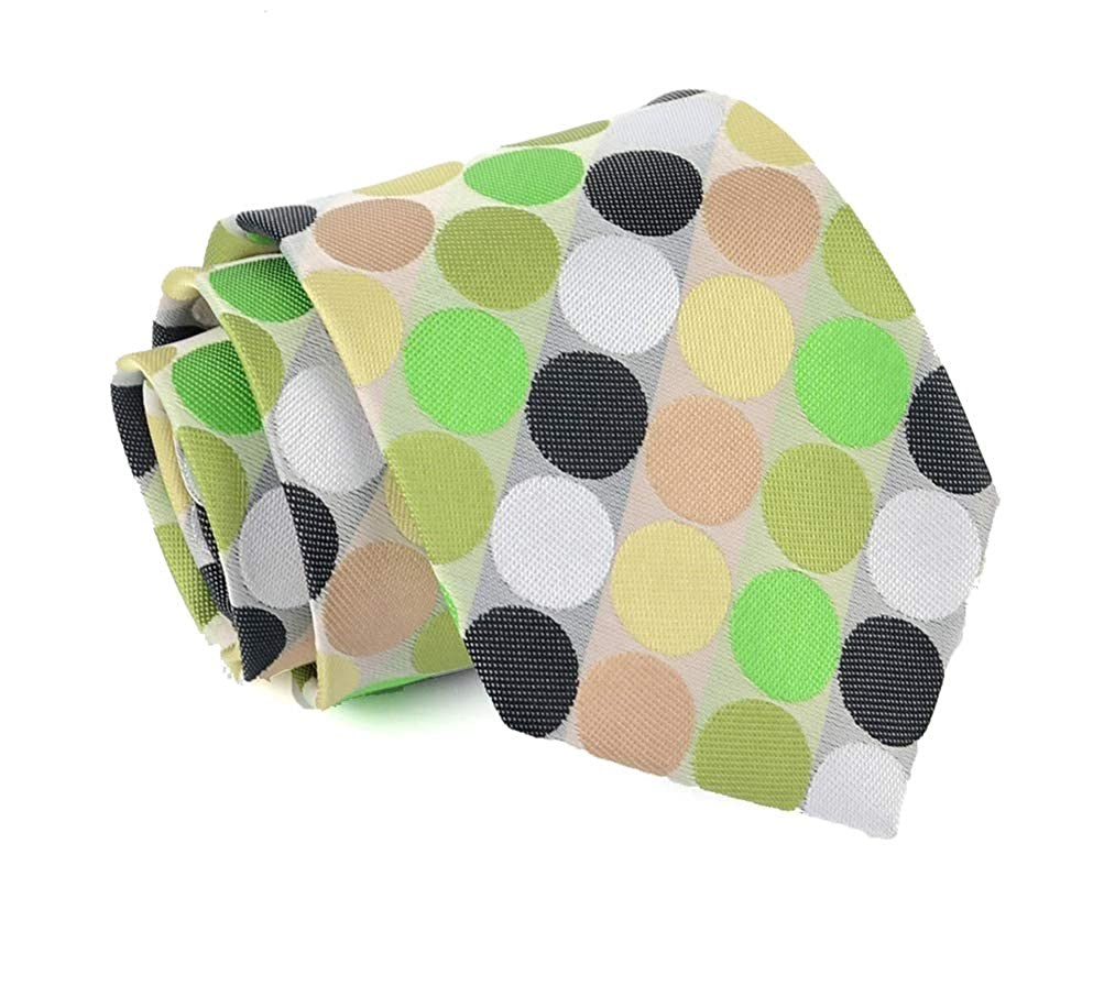 MOHSLEE Men 5Pcs Colorful Polka Dot Necktie Wedding Tie Pocket Square Set 5 Pack qz256