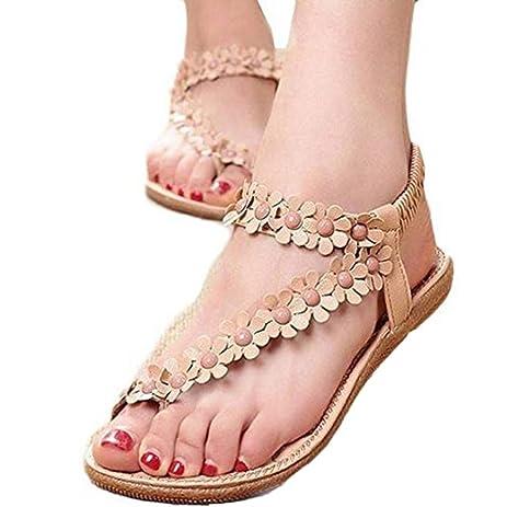 Optimal Women Bohemia Flower Beads Flip-Flop Shoes Flat Sandals