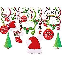 Christmas Hanging Swirl Decoration Kit(30pcs),Konsait Merry Christmas Swirls Garland Foil Hanging Ceiling Decoration for Xmas Winter Wonderland Holiday Party Decor Supplies,Already Assembled