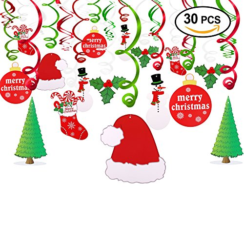 Holiday Gift Wonderland Winter (Konsait Christmas Hanging Swirl Decoration Kit(30pcs), Merry Christmas Swirls Garland Foil Hanging Ceiling Decoration for Xmas Winter Wonderland Holiday Party Decor Supplies,Already Assembled)