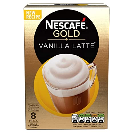Nescafe Cafe Menu Latte Vanilla, 185g (Pack of 8) Coffee at amazon