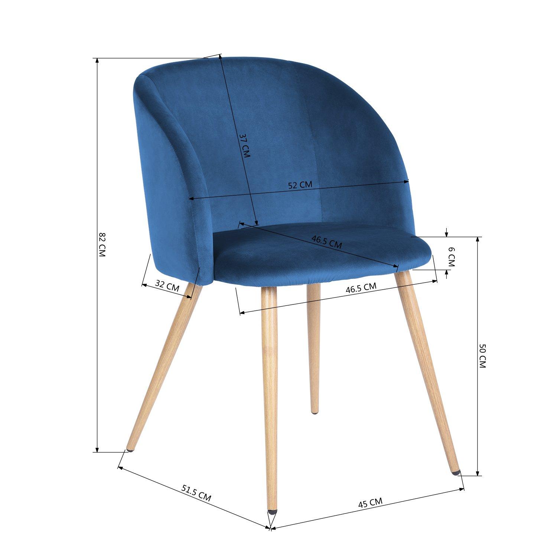 2er Silky Samt Akzent Sessel Für Kleine Küche Esszimmer Büro Stühle Sessel  Blau