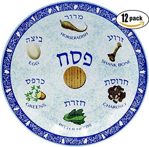 "Passover Seder Plate Design Paper Goods Party Set (Seder Plate Design 9"" Plate, 12-Pack)"