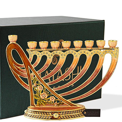 Matashi Hand Painted Enamel Menorah Candelabra Embellished with Gold Accents and Crystals (Artistic)