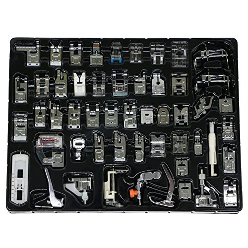 - Professional Domestic 52 PCS Sewing Machine Sewing Foot Presser Foot Presser Feet Set for Brother, Singer, Babylock, Janome, Elna, Toyota, New Home, Simplicity and Kenmore Low Shank Sewing Machines