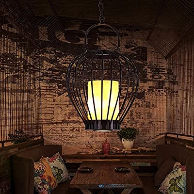 Village wrought-iron candlestick lamp cafe bar restaurant clothing store cage industrial chandelier