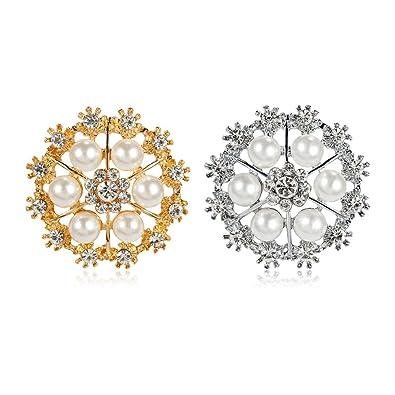 5106e44f42 Amazon.com: Yilanair Small Bridal Rhinestone Brooch Bouquet Pack of ...