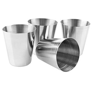 BESTOOL Taza de acero inoxidable de 30ml (Paquete de 4) Vasos Copas de Metal Tumbler Apilables Premium: Amazon.es: Hogar