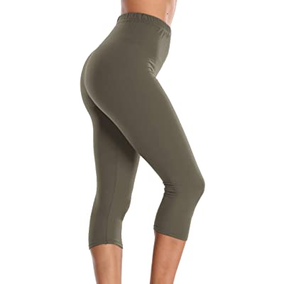 A-Wintage Women's Buttery Soft Capri Leggings High Waisted Yoga Pants Regular & Plus Size at Women's Clothing store
