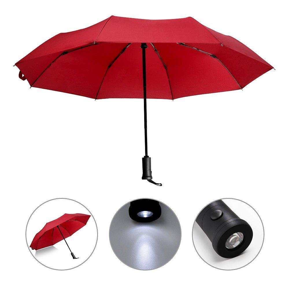 Ombrello automatico con manico a LED, riflettente reversibile ombrello pieghevole di sicurezza, pioggia e protezione UV Impermeabile e antivento, Black
