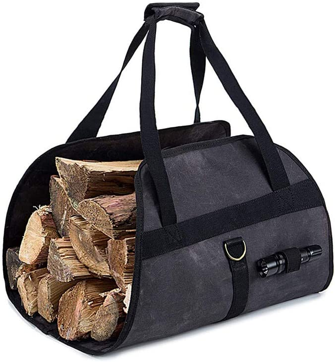 Vastitude Heavy Duty Waxed Canvas Log Carrier Tote Bag, Firewood Holder, Fireplace Stove Accessories Storage Bag (Dark Gray)