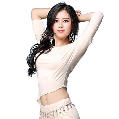 6600560ea9870 YiJee Women Dancewear Costume Belly Dance Tops Shirts Dancing Wear As  Picture M
