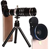 Youniker 3 in 1 Universal Camera Lens,18X Zoom Telephoto Lens+0.45X Wide Angle Lens+12.5X Macro Lens,Clip-on Cell Phone Camera Lens for iPhone 8/7/6 Plus,Samsung,Most Smartphones With Tripod (Black)