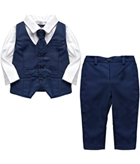 c866af347 Baby Boy Wedding Tuxedo Waistcoat 1pc Design Outfit Suit with Tie ...