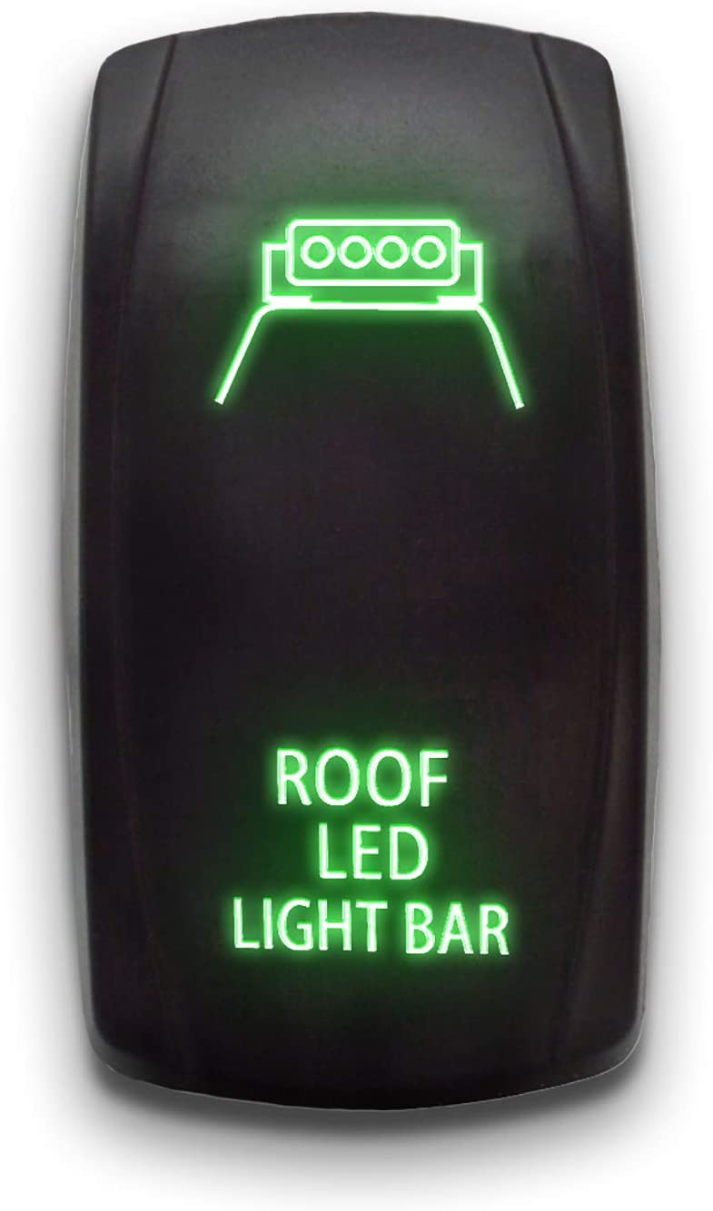 ROOF LED LIGHT BAR 20A 12V ON//OFF Green STARK 5-PIN Laser Etched LED Rocker Switch Dual Light