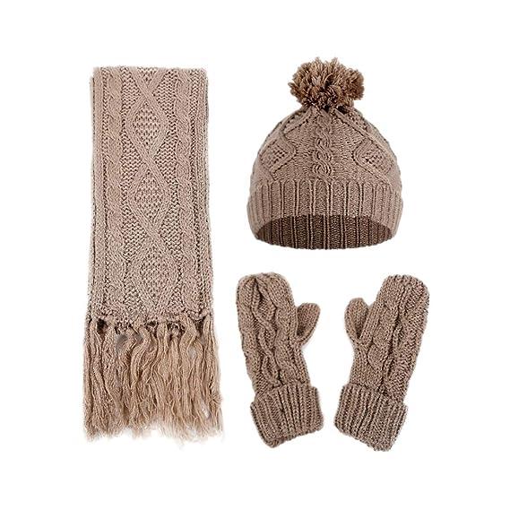 Vi.yo Conjunto de ropa abrigada de invierno de 3 piezas Conjunto de bufanda  y guantes con gorro de invierno térmico para niñas y mujeres  Amazon.es   Ropa y ... 1c7304849d0