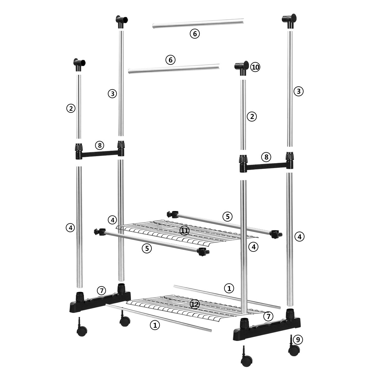 SUNPACE Double Rods Adjustable Rolling Clothes and Garment Rack with Wheels and 2 Shelves on Bottom