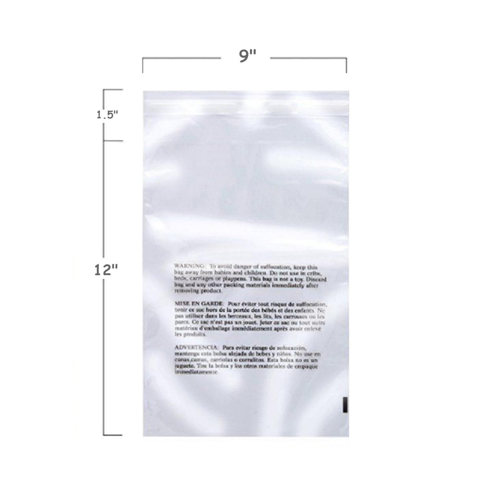 500 9''x12'' Self Seal Suffocation Warning Clear Poly Bags 1.5 mil TKT-11