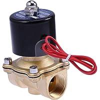 Hemobllo AC 110V 3/4 Pulgadas de latón de acción Directa, válvula de solenoide Normalmente Cerrada para Aire, Agua de Gas