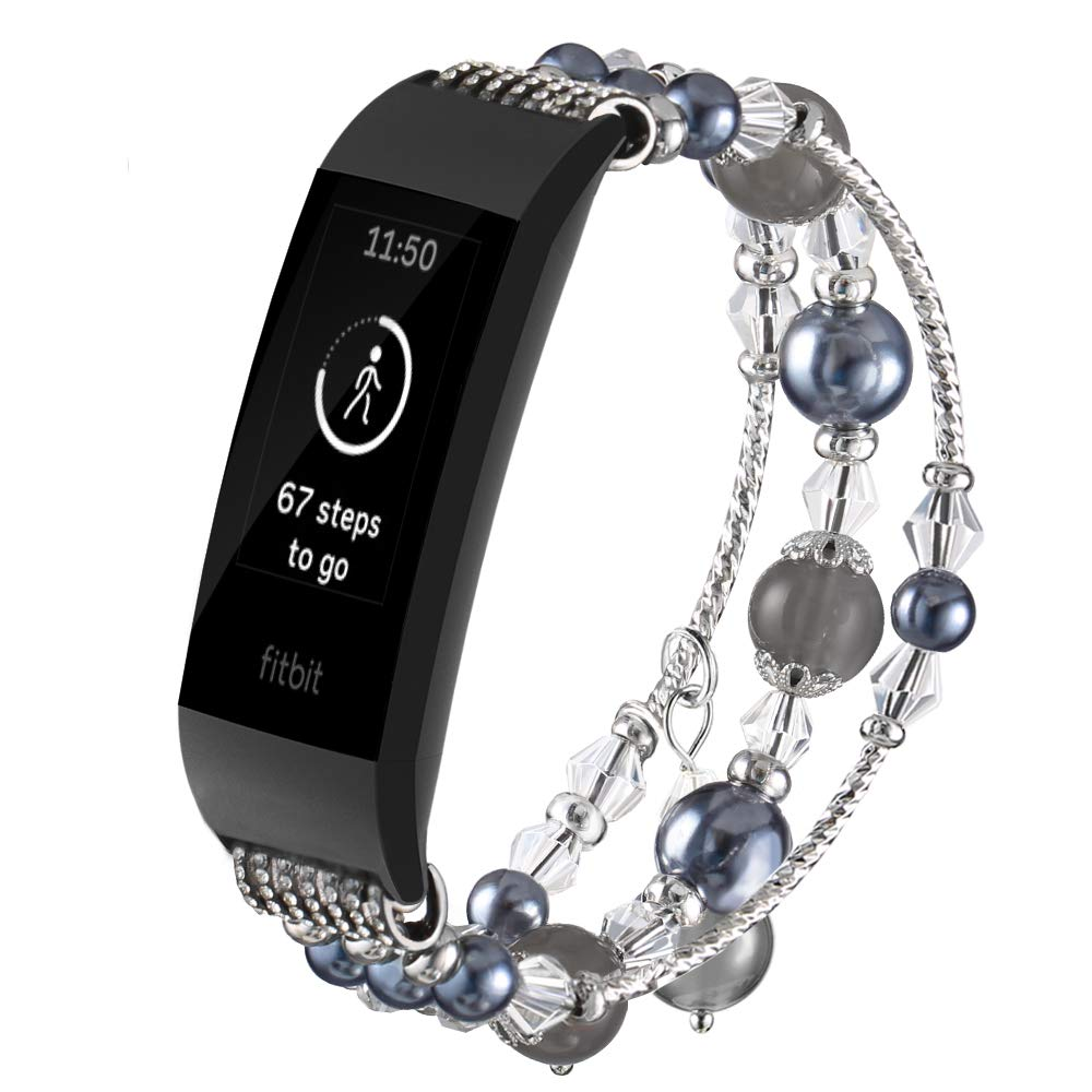 Gaishi Compatible with Fitbit Charge 3 and Charge 3 SE Band, Fashion Replacement Bracelet with Elastic Stretch Handmade Beaded Pearl Band with Metal Adaptor for Women Girls Female, Black
