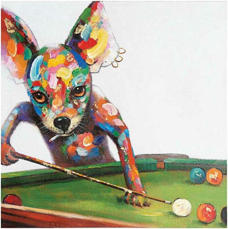 Dibujado a Mano Animales Jugar al Billar Perro Pintura Estiramiento y Marco Colorido Arte Pintura al óleo Hogar Decor Lienzo Pintura,Withframe,90x90cm: Amazon.es: Hogar