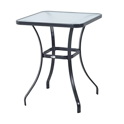 Outsunny 34u0026quot; Outdoor Glass Top Bistro Table   Black