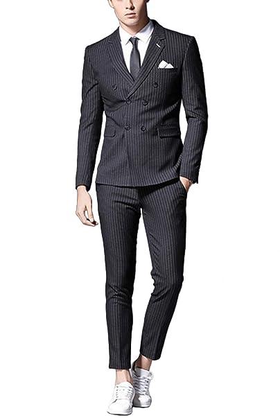 Amazon.com: Wemaliyzd - Pantalones de solapa para hombre, 2 ...