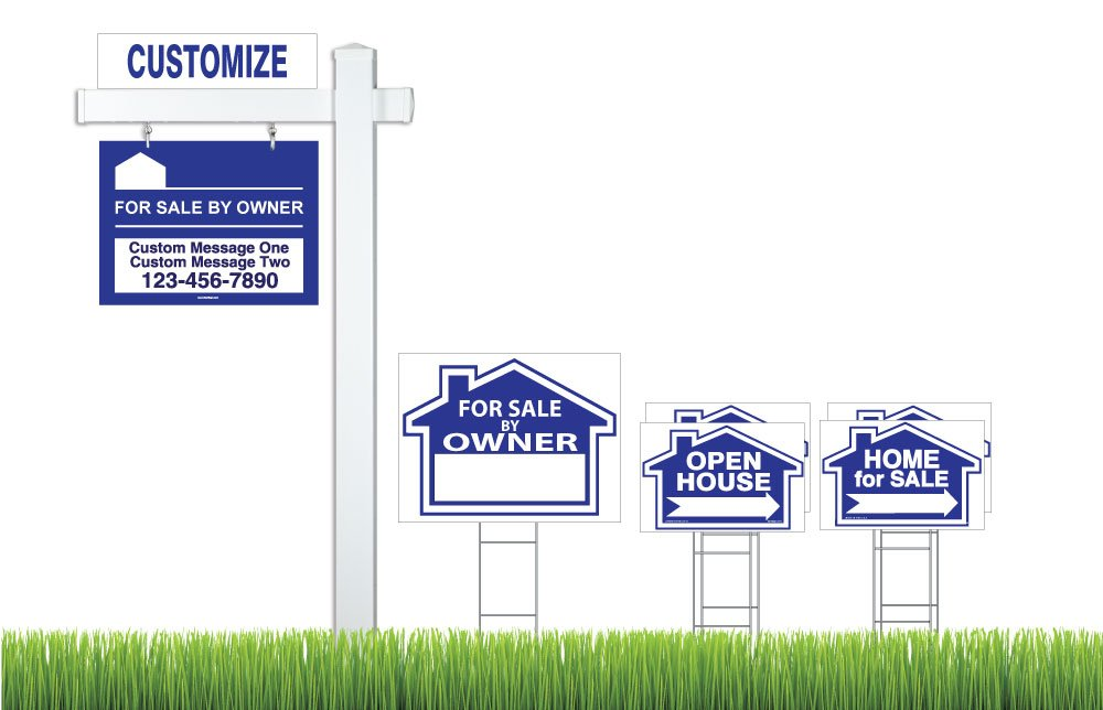 Deluxe Real Estate For Sale By Owner (FSBO) Sign Kit (Blue), (1) Vinyl PVC Real Estate Post, (1) FSBO Hanging Sign (1) Main Sign (4) Directional Signs, (1) Rider