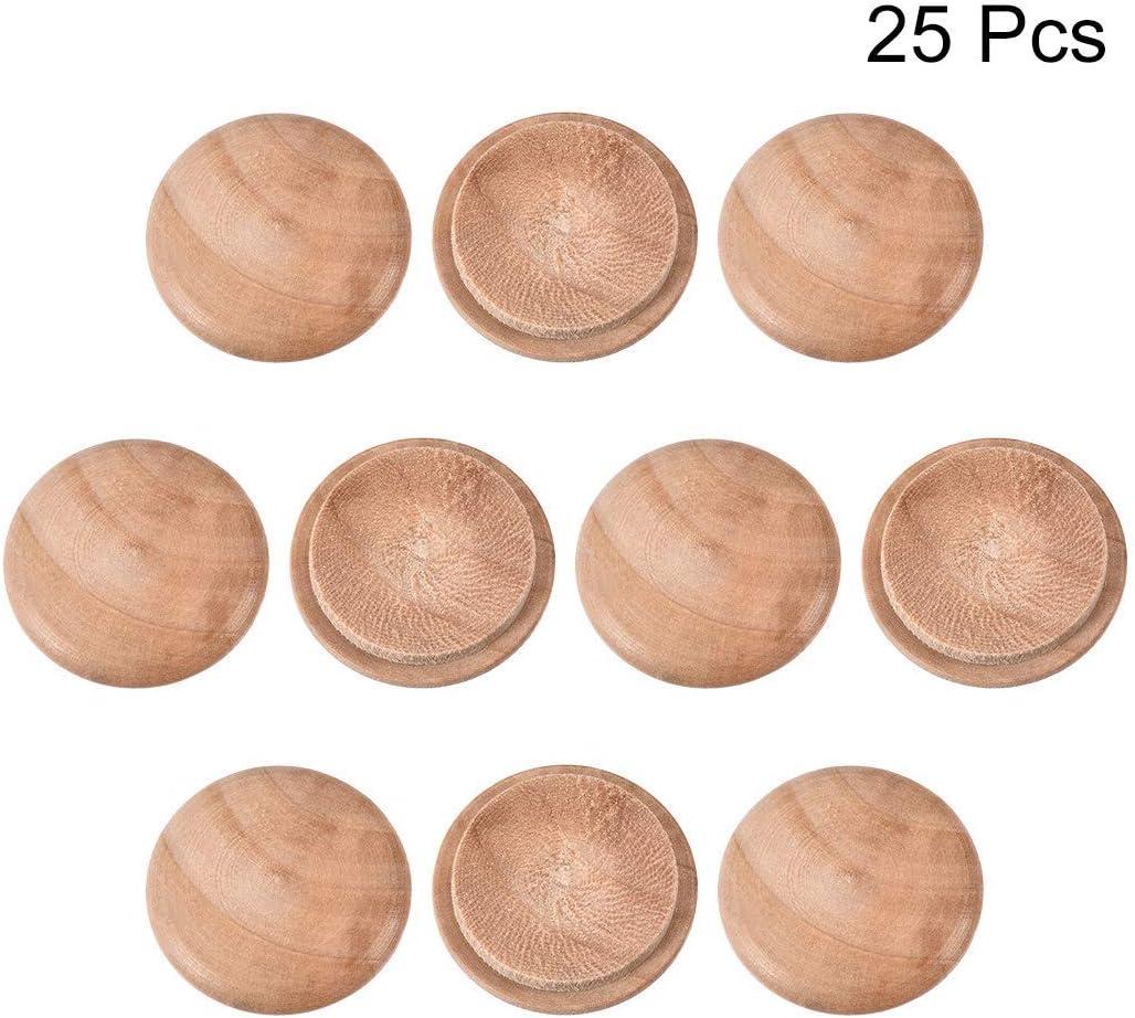 Tapones para muebles de madera de cerezo de 1 pulgada Pomos de madera para la parte superior de los pomos Paquete de 25