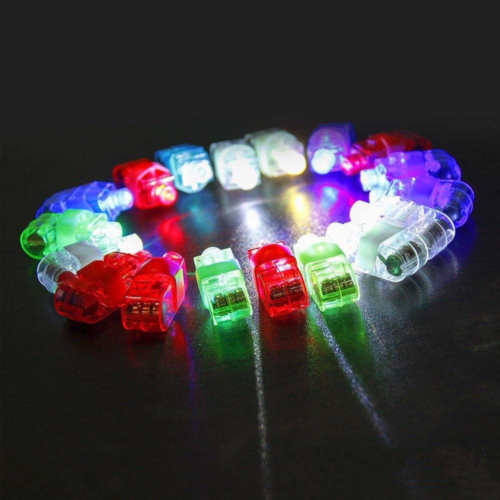 Taousa 70164 80pcs LED Finger Lights + 12pcs LED Fiber Flashing Braid Hair Barrettes, Party Supplies