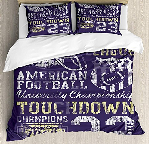 Sports Bedding Sets, Retro Style American Football College Theme Illustration Athletic Championship Apparel, 3 Piece Duvet Cover Set Quilt Bedspread for Childrens/Kids/Teens/Adults, Purple, QUEEN / FU -